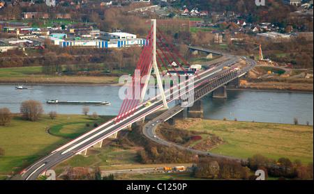 Aerial view, Rhine river, Niederrheinbruecke bridge, Wesel, Niederrhein region, North Rhine-Westphalia, Germany, - Stock Photo