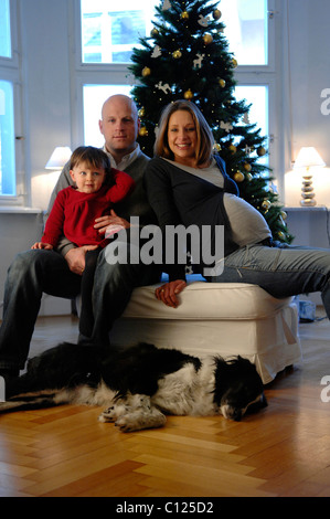 Happy family with daughter, father, pregnant mother and dog, Christmas tree - Stock Photo
