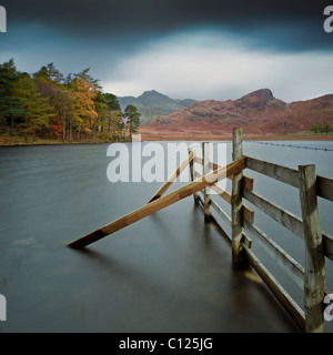 Blea Tarn with Langdale Pikes in distance Lake Disrict Cumbria