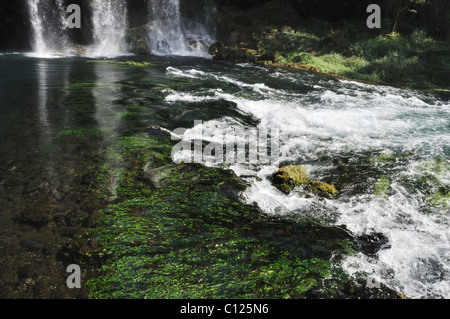 Start point of the wild river from waterfall - Stock Photo