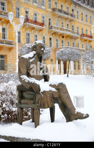 Goethe memorial in front of the Goethe Museum, wintery, Marianske Lazne, Czech Republic, Europe - Stock Photo