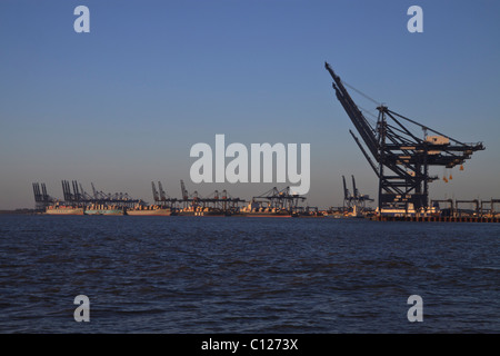 The container port at Felixstowe, Suffolk, England - Stock Photo