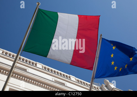 Italian and EU flags flying in London - Stock Photo