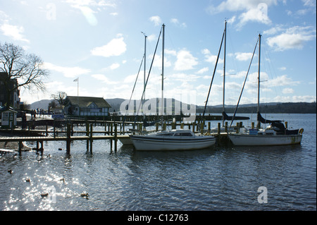Windermere Boat and Lake Scene in glorious sunshine - Stock Photo