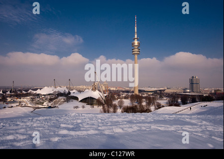 Olympic Tower and BMW Headquarters, Olympic Park, Munich, Bavaria, Germany, Europe - Stock Photo