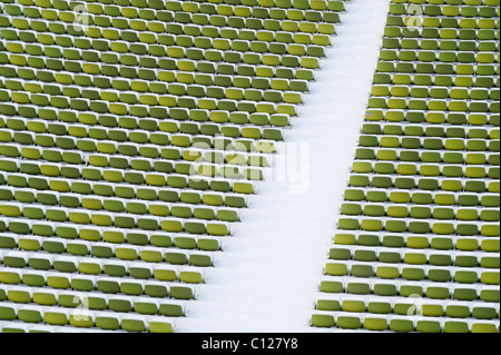Snow-covered seats in the Olympic Stadium, Olympic Park, Munich, Bavaria, Germany, Europe - Stock Photo
