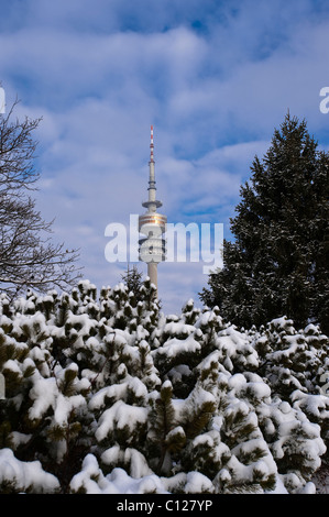 Olympic Tower, Olympic Park, Munich, Bavaria, Germany, Europe - Stock Photo