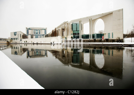 The Federal Chancellery on the Spree river in winter, Berlin, Germany, Europe - Stock Photo