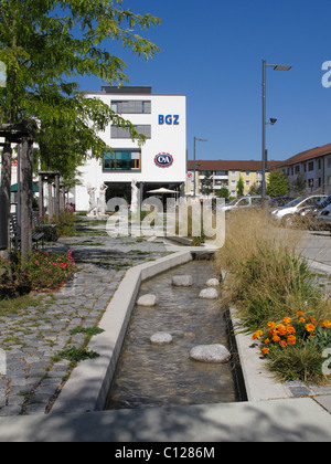 BGZ business premises, fountain, city center, Karl-Lederer-Platz, Geretsried, Upper Bavaria, Bavaria, Germany, Europe - Stock Photo