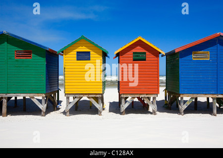 Colorful beach huts on the bach of St. Jaimes, False Bay, Cape Town, Western Cape, South Africa, Africa - Stock Photo