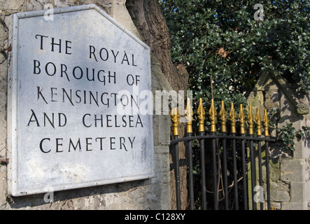 entrance sign for the royal borough of kensington and chelsea cemetery, hanwell, west london, england - Stock Photo