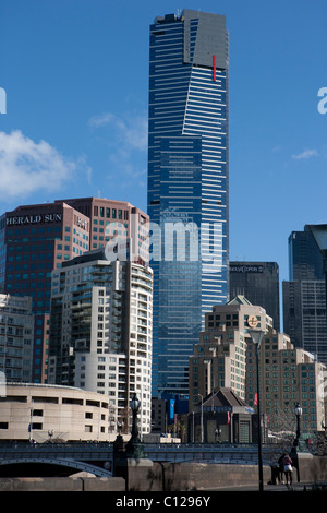 Eureka tower, the tallest building in Melbourne and fourth tallest residential building in the world, and Melbourne - Stock Photo