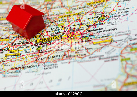 Map detail London with Hotel - Stock Photo