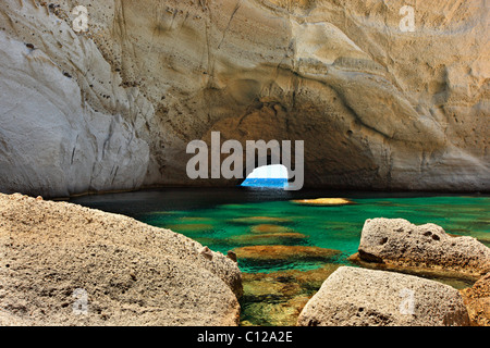 The sea cave of Sykia in Milos island, Cyclades, Greece. - Stock Photo