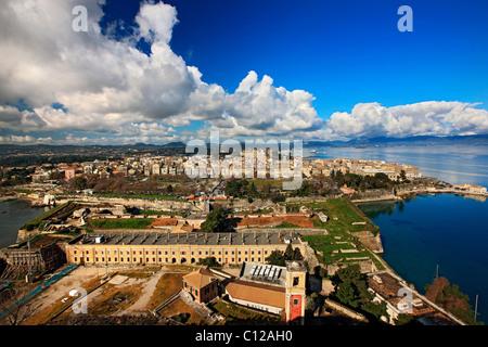 Panoramic view of Corfu town, Kerkyra Island, Greece - Stock Photo