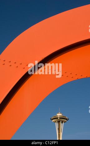 USA, Washington, Seattle, 'Eagle' Sculpture by Alexander Calder (1971) Olympic Sculpture Garden:  Space Needle Behind - Stock Photo