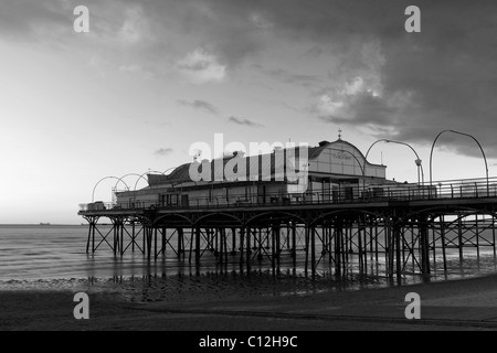 Cleethorpes Pier (slow exposure, monochrome), North East Lincolnshire Feb 2011 - Stock Photo
