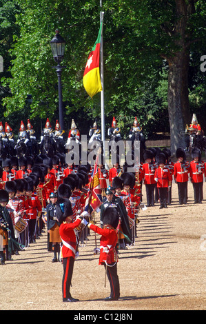 Trooping the colour at horse guards London by the household division - Stock Photo