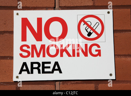 A no smoking sign on a building in a U.K. city. - Stock Photo
