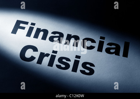 light and word of Financial Crisis for background - Stock Photo