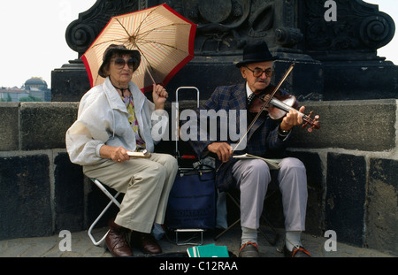 Musicians, Charles Bridge,  Prague, Czech Republic, World Heritage - Stock Photo