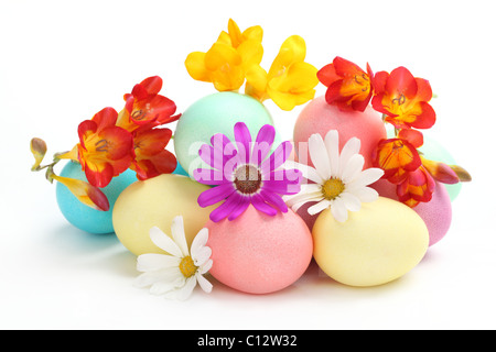 Colorful Easter Eggs with Spring Flowers on White Background - Stock Photo