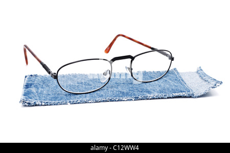 blue cloth case with specs isolated on white background - Stock Photo