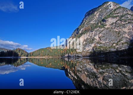 Pragser Wildsee, lago di braies, Alto Adige, Italy - Stock Photo