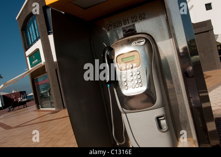 public pay phone in Lanzarote - Stock Photo