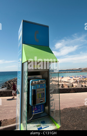 pay phone box in Lanzarote - Stock Photo