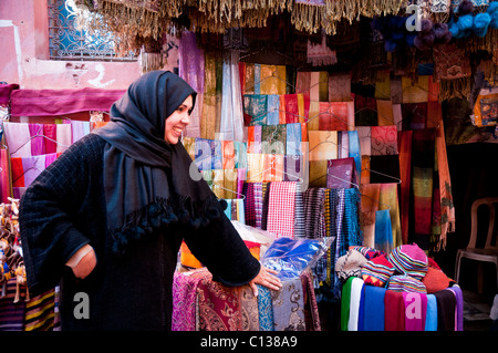 Every day life inside the Medina of Marrakesh, Morocco, Northern Africa - Stock Photo