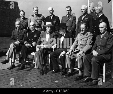 World War II. Seated, from left: George Marshall, William Leahy, Franklin Delano Roosevelt, Winston Churchill, Alan - Stock Photo