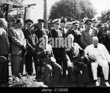World War II. Seated, from left: Chiang Kai-shek, Franklin Delano Roosevelt, Winston Churchill. Standing, from left: - Stock Photo