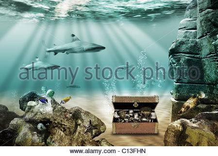 treasure chest underwater stock photo 67412486 alamy