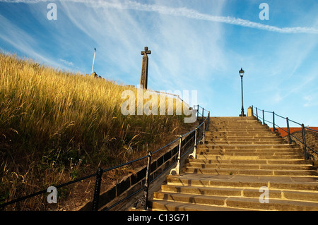 Looking up the 199 steps Whitby towards St Mary's Church - Stock Photo