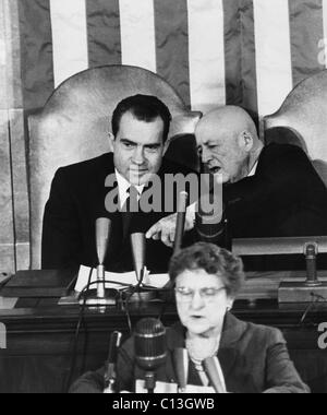 Vice President (future President) Richard Nixon, and House Speaker Sam Rayburn, during the counting of the electoral - Stock Photo