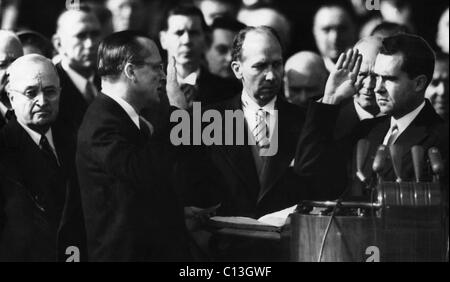 Richard Nixon first Vice Presidential Inauguration. Future US President Richard Nixon being sworn in as Vice President - Stock Photo