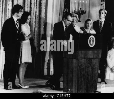 Nixon Presidency. From left: David Eisenhower, Julie Nixon Eisenhower, US President Richard Nixon, First Lady Patricia - Stock Photo