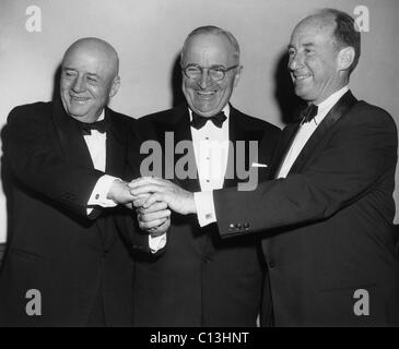 House Speaker Sam Rayburn, Former President Harry Truman, and Presidential candidate Adlai Stevenson, April 16, - Stock Photo