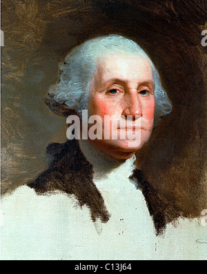 GEORGE WASHINGTON, famous unfinished portrait of the first President by GILBERT STUART - Stock Photo