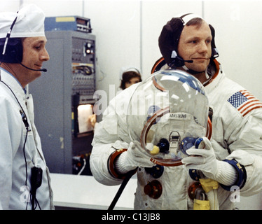 NEIL ARMSTRONG, preparing for Apollo 11 Mission, July 1969. (c)NASA. Courtesy: Everett Collection. - Stock Photo
