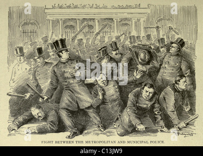 New York City Police Riot of 1857. Riot between the recently dissolved, corrupt New York Municipal Police and the - Stock Photo