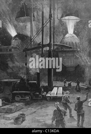 Making steel with Bessemer Converters in Pittsburgh, Pennsylvania. Wood engraving from a drawing by Charles Graham. - Stock Photo