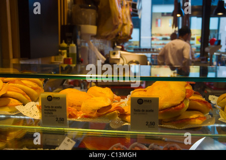 Sanwiches in Mercado de San Miguel market hall La Latina district central Madrid Spain Europe - Stock Photo