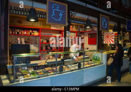 Sushi counter in Mercado de San Miguel market hall La Latina district central Madrid Spain Europe - Stock Photo
