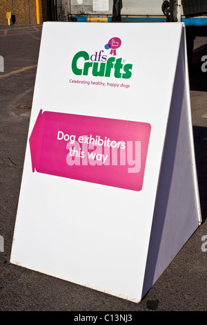Dog exhibitors direction sign for Crufts at the NEC