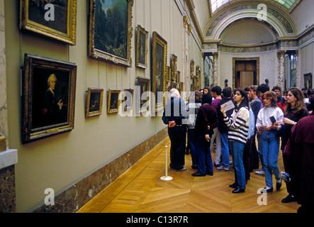 people, tourists, visitors, visiting, Grande Galerie, Denon Gallery, Louvre Museum, Musee du Louvre, Paris, France, - Stock Photo