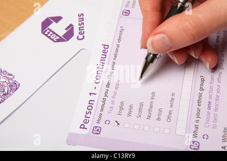 The 2011 UK Census form being completed - Stock Photo
