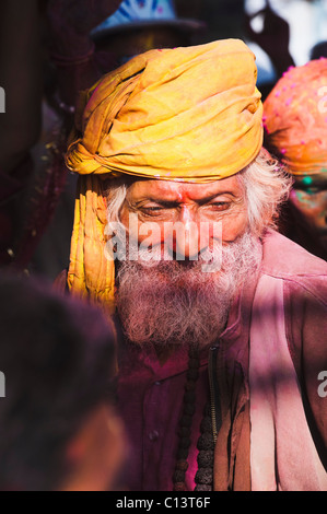 Close-up of a sadhu during Holi festival, Barsana, Uttar Pradesh, India - Stock Photo