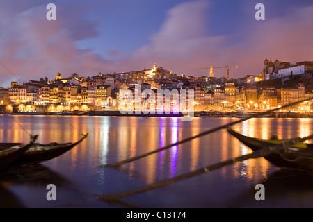 Cais de Ribeira, rabelo boats in Douro River, Oporto, Portugal - Stock Photo